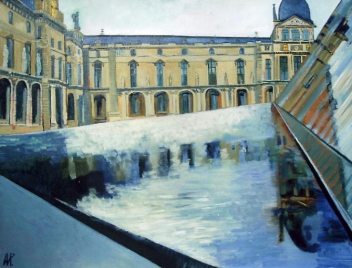 Площадь Лувра.Париж  (2007 Холст, масло. 89х130 )